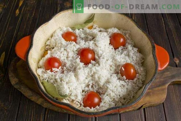 Pork pilaf with dried apricots and cherry tomatoes