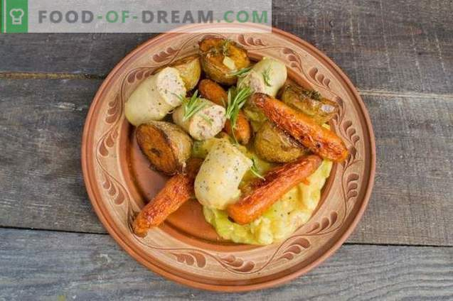 Chicken goulash with baked vegetables and sausage