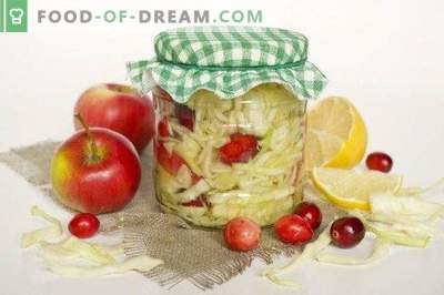 Marinated cabbage with cranberries in lemon marinade