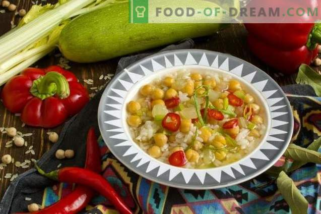 Vegetarian chickpea soup with vegetables
