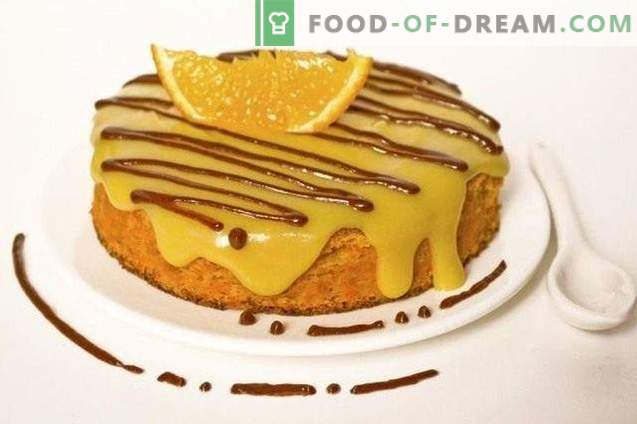 Carrot sponge cake with orange cream