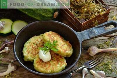 Tasty zucchini fritters with cheese and garlic
