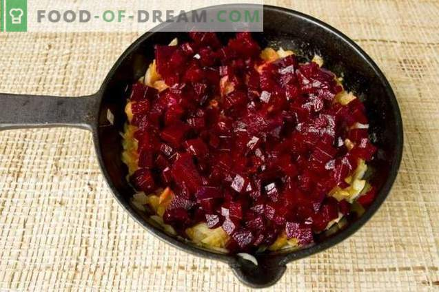 Red beet soup made from beetroot with chicken and champignons