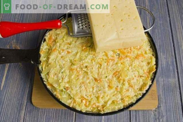 Pasta Casserole with Cottage Cheese and Cabbage