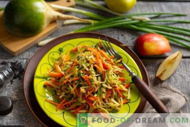 Healthy salad of green radish with carrots