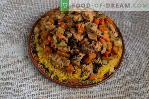 Crumbly pilaf with pumpkin and meat in the Azerbaijani way