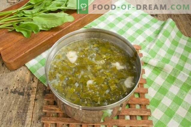 Sorrel soup with meat and egg