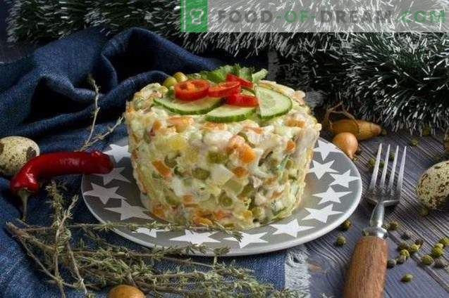 Meat salad on the festive table