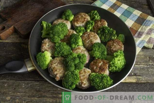Fast meat patties with broccoli in bechamel sauce