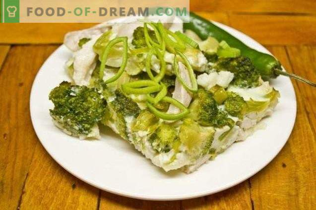 Casserole with broccoli and chicken fillet