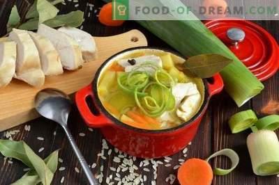 Reissuppe mit Hühnerbrust und Lauch