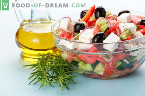 Salads with olive oil - a selection of the best recipes. How to properly and deliciously prepare salads with olive oil.