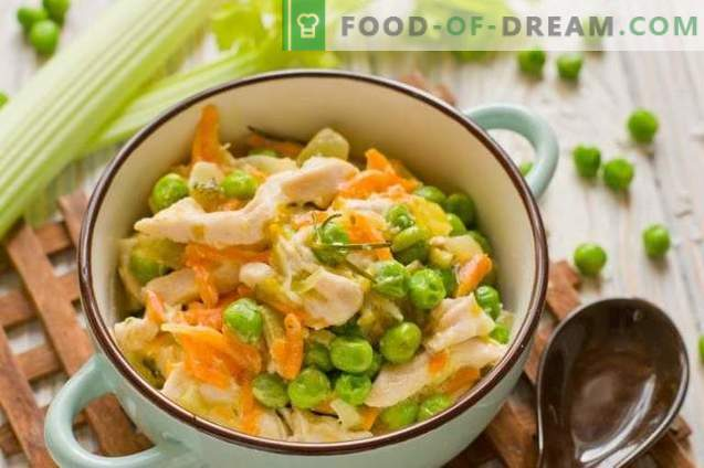 Chicken frittle with peas - vegetable stew in French