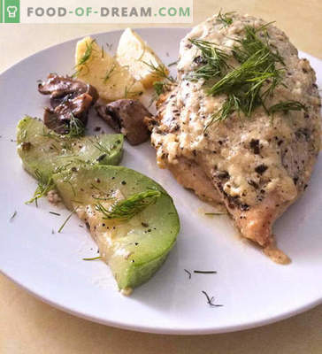 Chicken breast in a creamy cheese sauce with vegetables - recipe with photo