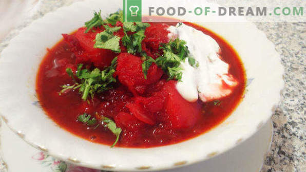 Borsch with beet and cabbage, recipes of classic, Russian, Ukrainian