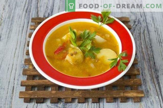 Soup with lentils, yellow tomatoes and young potatoes