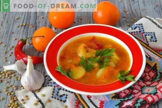 Супа с леща, жълти домати и млади картофи