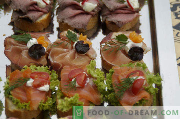 20 types of sandwiches for the holiday table, recipes with photos, with red fish, herring, caviar, hot, canapes