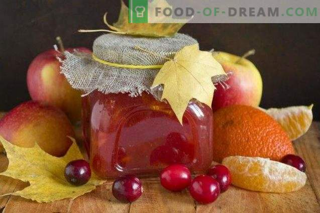 Apple jam with cranberries and citrus