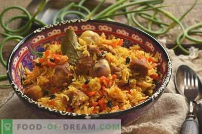 Delicious pilaf with pork in a duck on the plate
