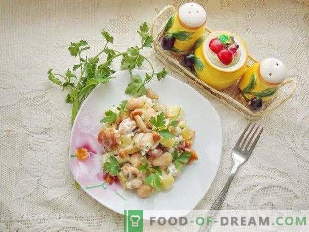 Rustic salad with pickled mushrooms