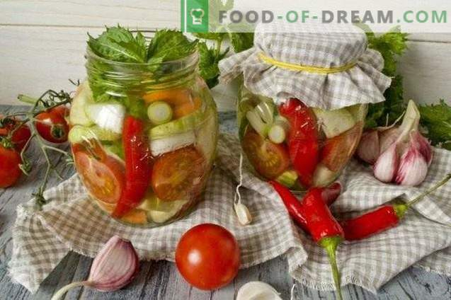 Salad of pickled vegetables with chilli and mint for the winter