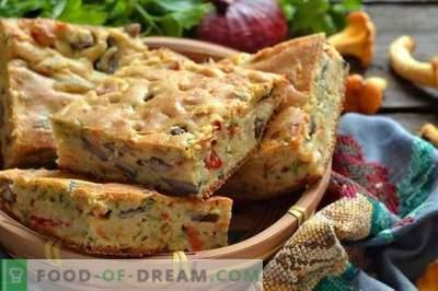 Pie with mushrooms on kefir