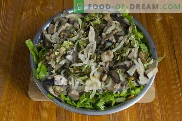 Lenten salad with grilled mushrooms