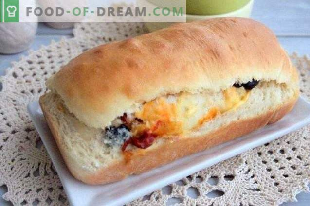 Pie roll with olives, dried peppers and cheese