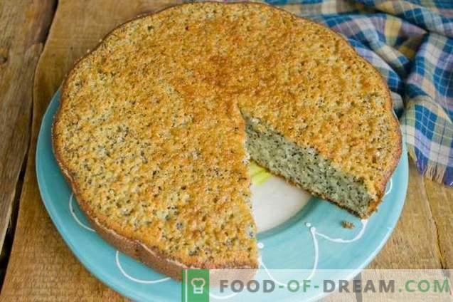 Mannik with poppy on kefir - simple and tasty cake