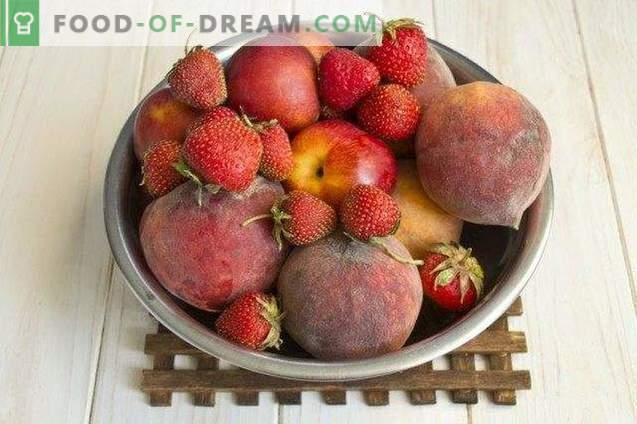 Berry-fruit jam from peaches, strawberries and nectarines