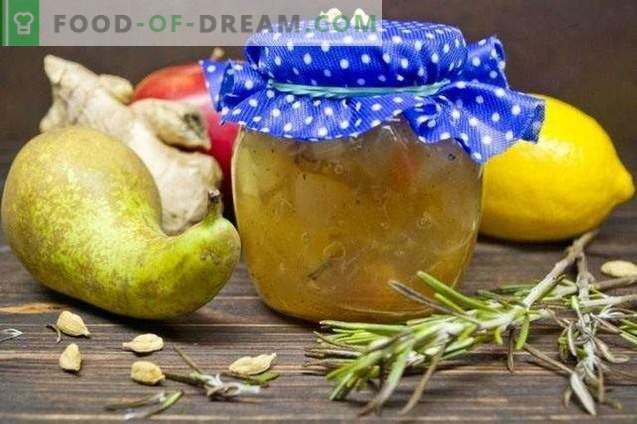 Fruit jam against colds with rosemary and ginger