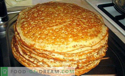 Dough for pancakes on kefir, recipes with milk, without eggs, yeast, with boiling water