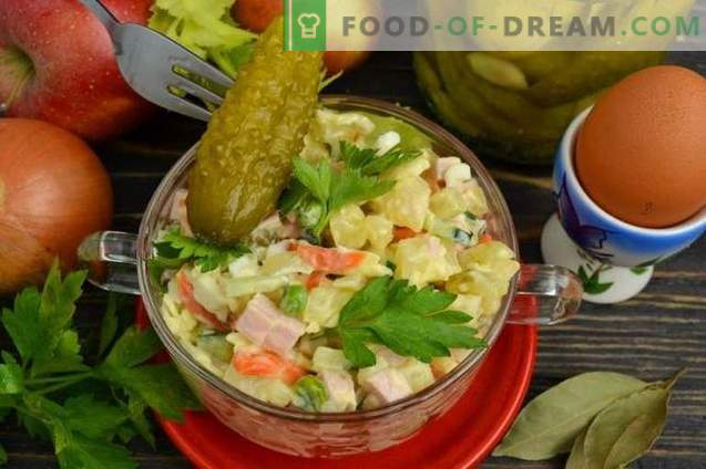 Olivier salad with cucumber and sausage