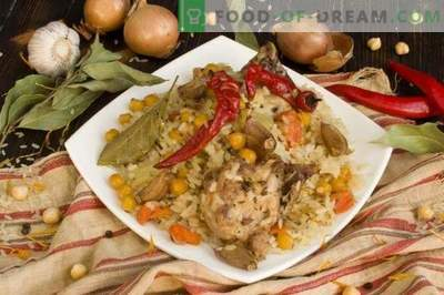 Pilaf with chicken and chickpeas