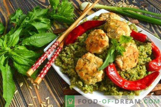 Green rice with meatballs