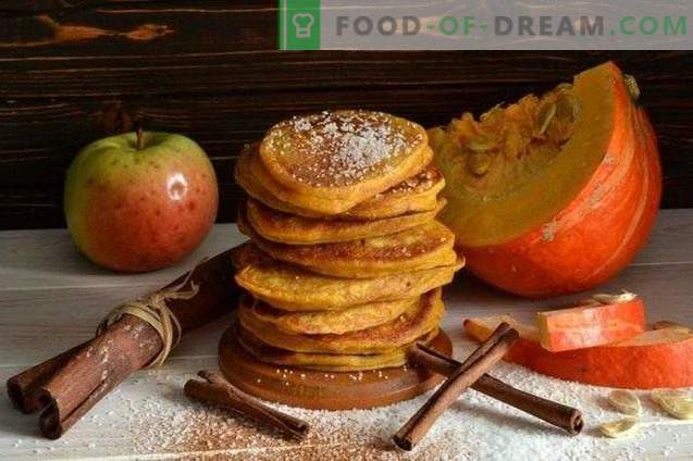 Pancakes with pumpkin and apples