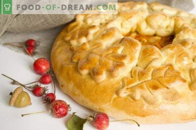 Pie with chicken and vegetables