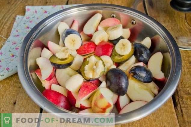 Apfelmarmelade für den Winter mit Banane und Pflaumen
