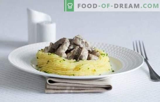 Stroganoff au bœuf et aux champignons - Salut au comte Stroganov! Cuisson du bœuf stroganoff avec champignons, porc, bœuf, poulet et légumes