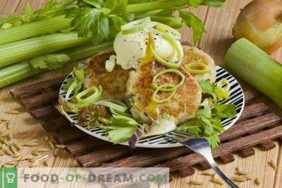 Cottage cheese cutlets with celery and poached egg