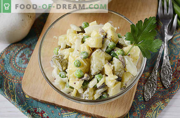 Potato salad with mushrooms - a complete dish for a summer lunch or dinner. Step-by-step photo-recipe of potato salad with mushrooms