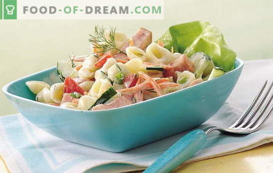 Simple ham salad - magic wand for the hostess! Recipes for delicious salads with ham and vegetables, mushrooms, crackers
