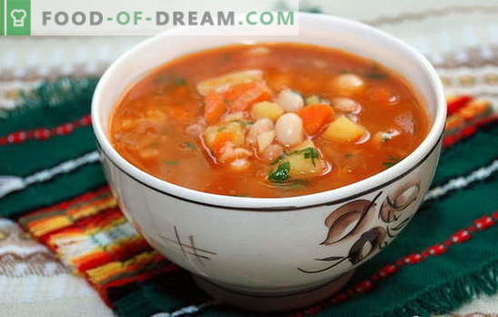 Soup from canned beans with cheese, apples, stew, fish. Recipes for homemade canned bean soup