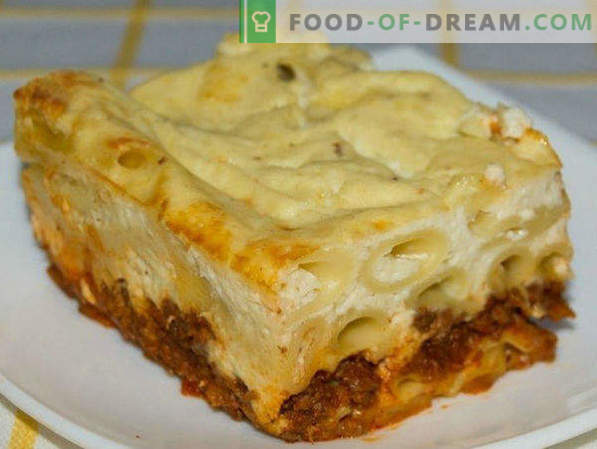 Pasta Casserole with minced meat in the oven, with cheese, vegetables, step by step