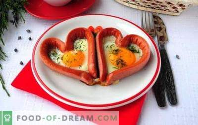Fried eggs with sausages - tasty, satisfying, romantic! Recipes of different fried eggs with sausages: hearts, mixed, fried eggs