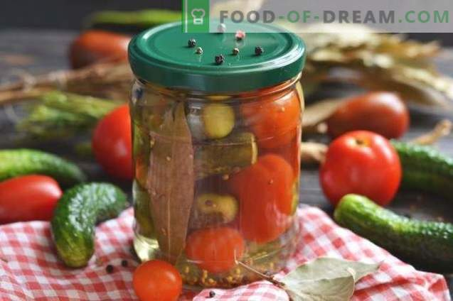 Pickled cucumbers with tomatoes - summer assorted for winter