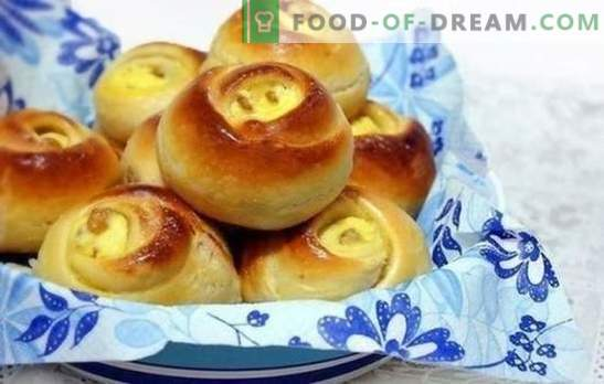 Curd buns - the most tender and tasty! Recipes and secrets of making buns with cottage cheese on milk, water, puff pastry