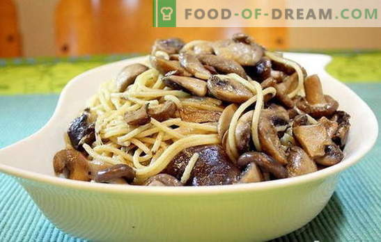 Spaghetti with mushrooms is an unusual combination of common products. The best recipes for cooking spaghetti with mushrooms