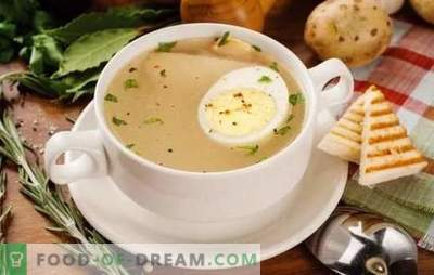 Egg broth is an easy first course and is simple to prepare. Variants of broth with game egg, fish, chicken and beef